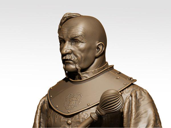 sculpture kalnyshevsky ataman zaporizhzhya 3D model
