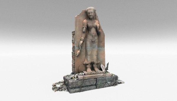 3D model female stone statue