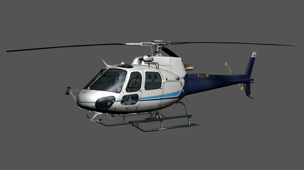 3D model rigged helicopter