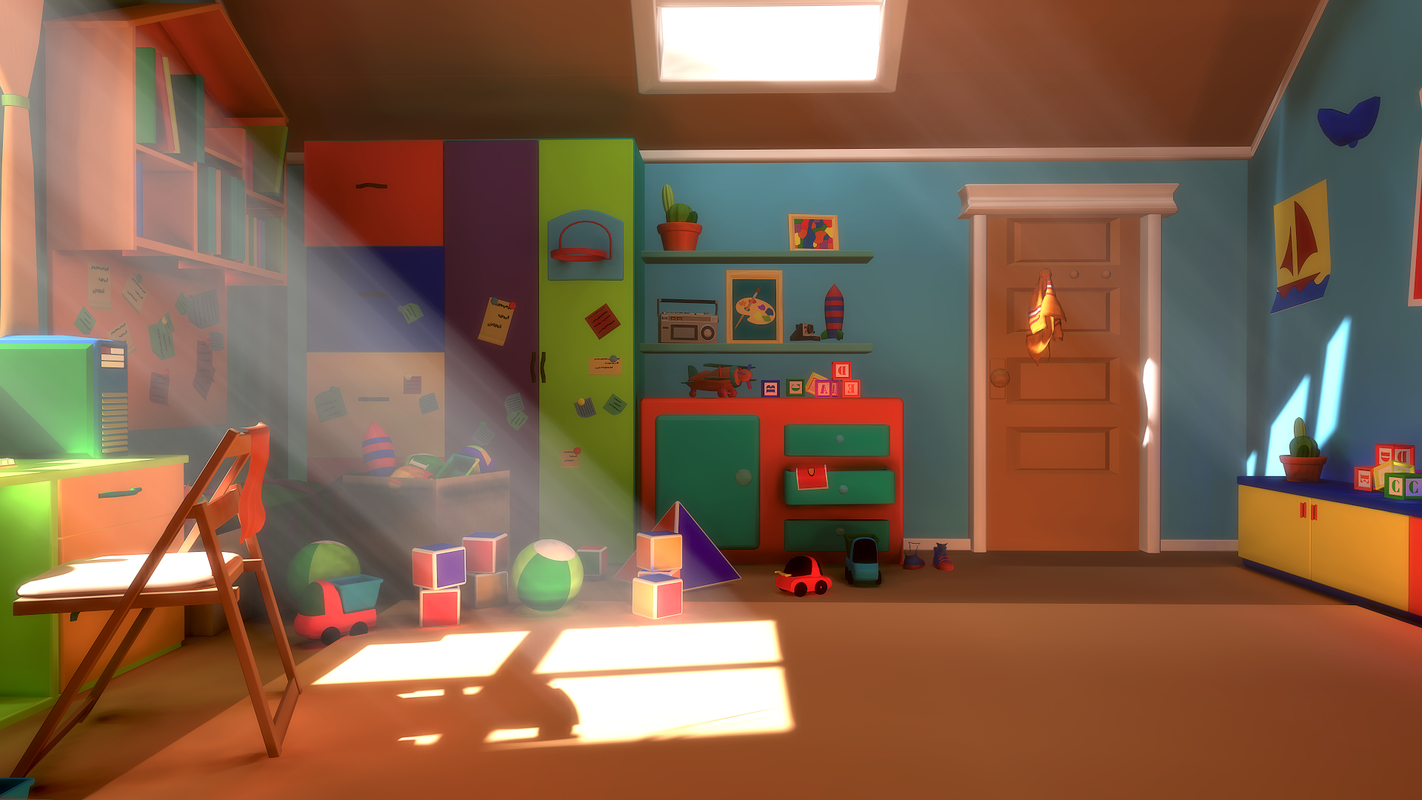 bedroom cartoon - asset 3D