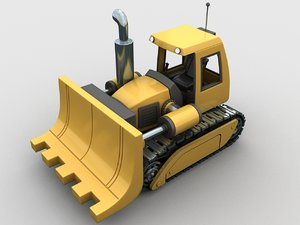 3D cartoon bulldozer