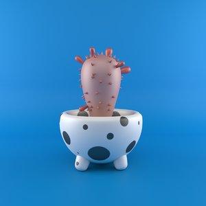 cartoon cactus 3D model