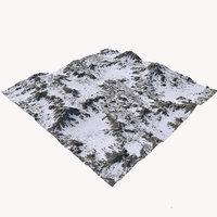 3D model snowy terrain