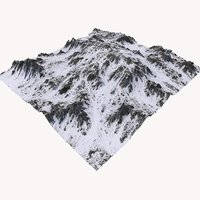 snowy mountain terrain 3D
