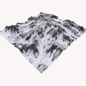 snowy mountain terrain 3D