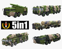 chinese dongfeng series missile launcher 3D model