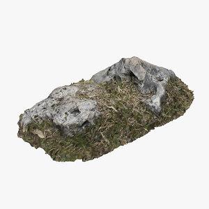3D grassy rock