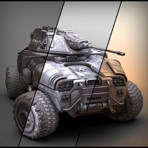 sci fi apc set 3D model