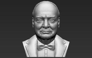 3D winston churchill bust ready model