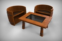 3D norse coffee table chairs