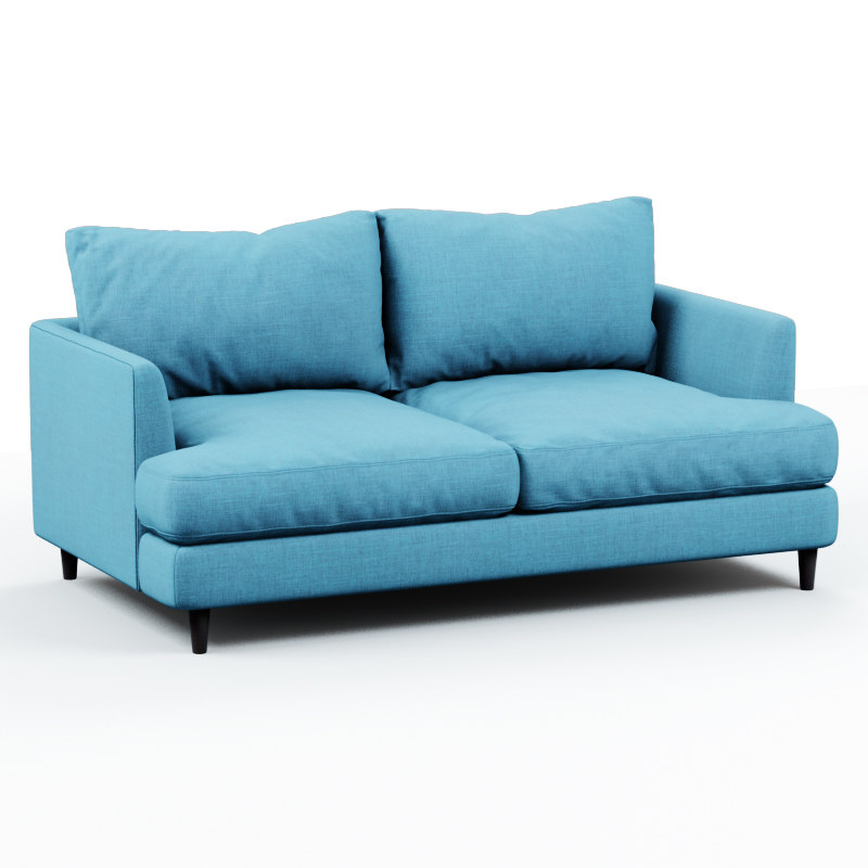 3D soft sofa fabric blue model