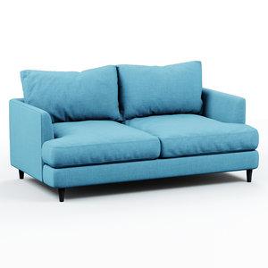3D soft sofa fabric blue model