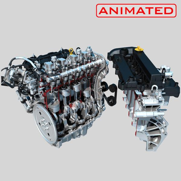 3D engine piston motion animation