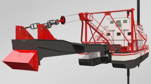 dredger ship transport 3D model