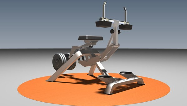 3D seated calf raise model