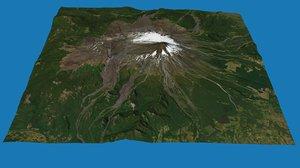 3D villarrica chile volcanoes