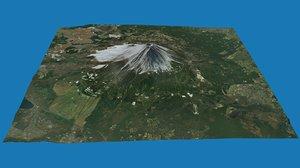 3D model japans fuji volcano mount