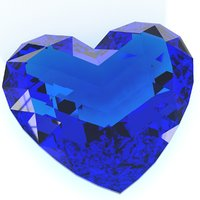 heart shaped gemstone v3 3D model