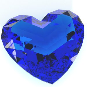 heart shaped gemstone v3 3D model