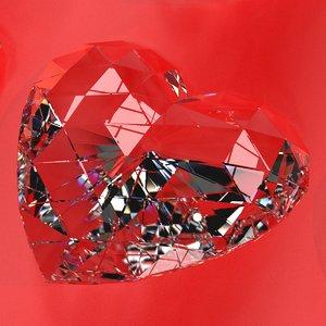 set heart shaped gemstone 3D model
