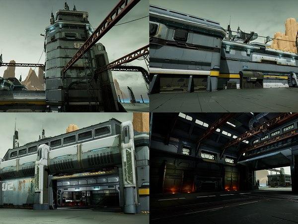 modular sci-fi hangars location model