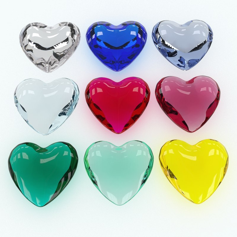 3D model set heart shaped gemstone