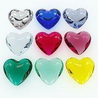 3D model set heart shaped gemstone