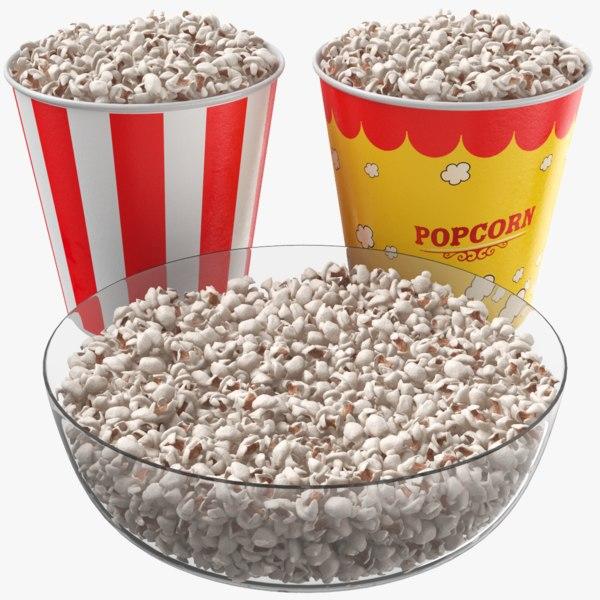 real popcorn cups bowl 3D model