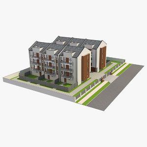3D apartment buildings block 2 model