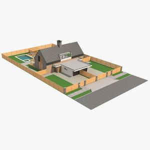 modern barn house 6 3D