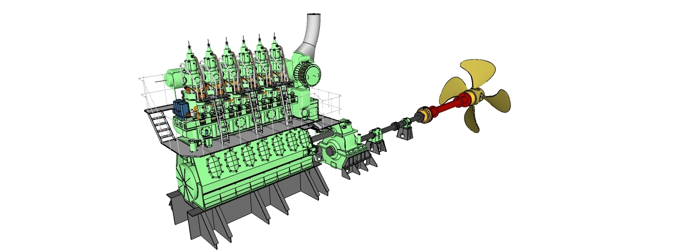speed marine diesel engine 3D model