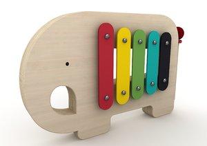 3D model elephant xylophone toy