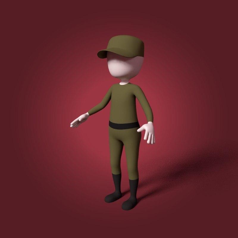 3D cartoon soldier mesh