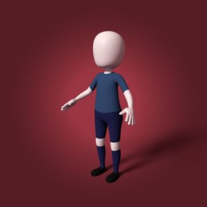3D cartoon soccer player
