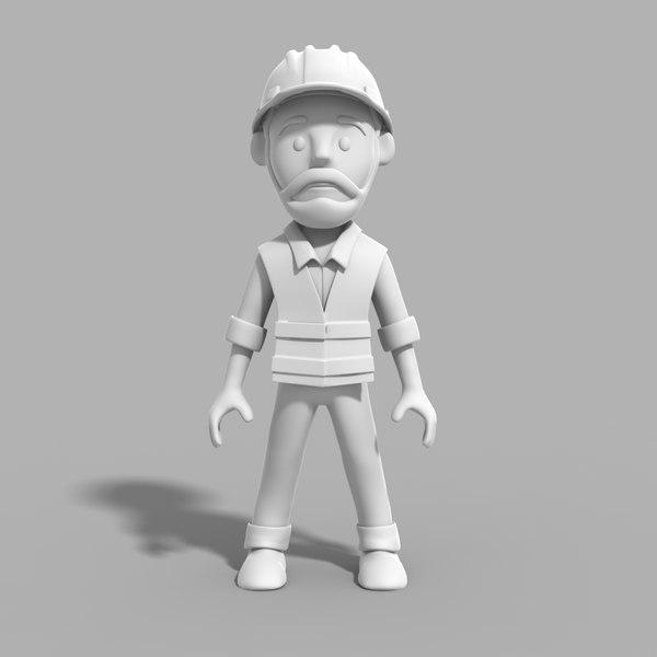 engineer cartoon 3D model