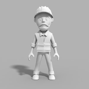 engineer cartoon 3D model