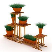 3D model flowerpot wood stand