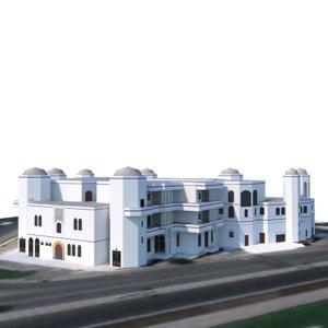 3D hotel beach model