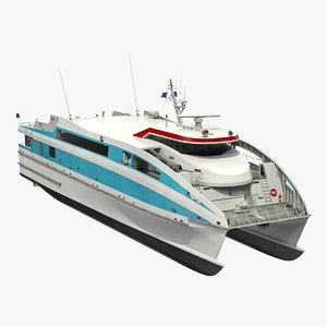 3D ferry catamaran generic rigged model