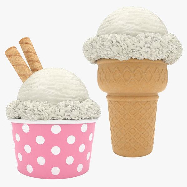 ice cream vanilla set 3D model