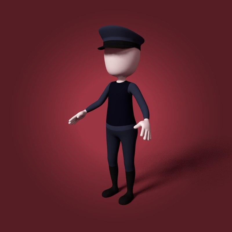 3D cartoon police man