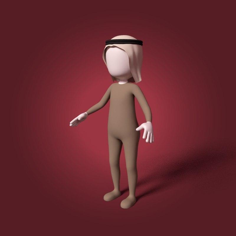 cartoon arab man 3D model