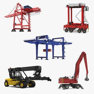 port cranes 4 3D model