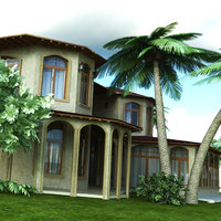 realistic arabic villa 3D model