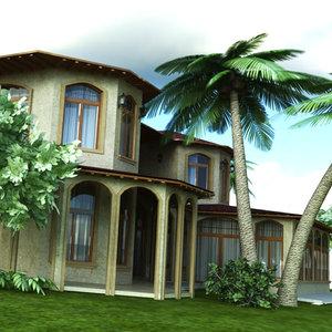 realistic arabic villa 3D model