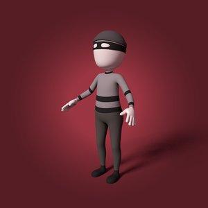 3D cartoon thief