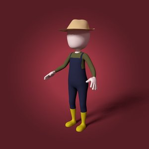 cartoon farmer 3D