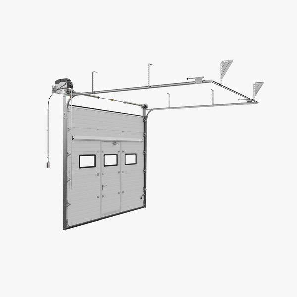 3D sectional garage door windows