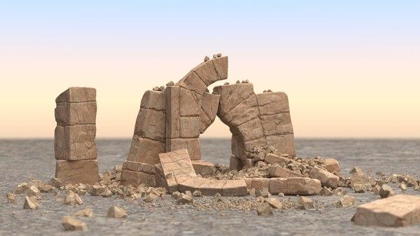 3D old broken arch