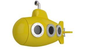 stylised yellow submarine 3D model